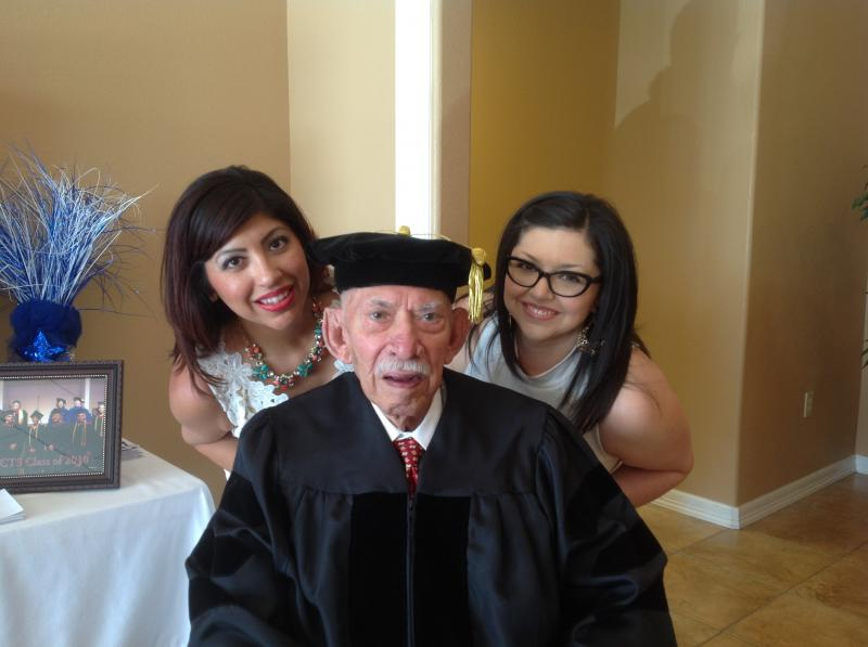 Granddaughters, Lisa & Lori, with Agapito Zuniga
